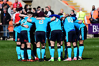 The Fleetwood players form a huddle prior to the match<br /> <br /> Photographer Richard Martin-Roberts/CameraSport<br /> <br /> The EFL Sky Bet League One - Blackpool v Fleetwood Town - Saturday 14th April 2018 - Bloomfield Road - Blackpool<br /> <br /> World Copyright &not;&copy; 2018 CameraSport. All rights reserved. 43 Linden Ave. Countesthorpe. Leicester. England. LE8 5PG - Tel: +44 (0) 116 277 4147 - admin@camerasport.com - www.camerasport.com