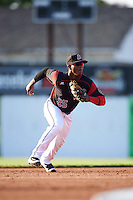 Batavia Muckdogs shortstop Samuel Castro (25) fields a ground ball during a game against the State College Spikes on June 24, 2016 at Dwyer Stadium in Batavia, New York.  State College defeated Batavia 10-3.  (Mike Janes/Four Seam Images)