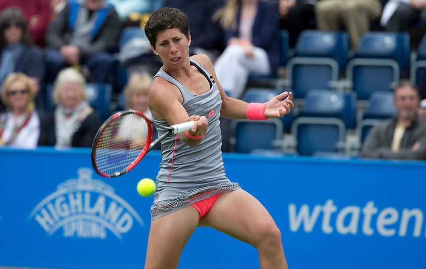 Carla Suarez Navarro (ESP) in action during her defeat by [6] Karolina Pliskova (CZE) in their Women&rsquo;s Singles Quarter Final match today - [6] Karolina Pliskova (CZE) def [3] Carla Suarez Navarro (ESP) 6-2 6-2<br /> <br /> Photographer Stephen White/CameraSport<br /> <br /> Tennis - WTA International - Aegon  Classic - Day 5 - Friday 19th June 2015 - Edgbaston Priory Club - Birmingham<br /> <br /> &copy; CameraSport - 43 Linden Ave. Countesthorpe. Leicester. England. LE8 5PG - Tel: +44 (0) 116 277 4147 - admin@camerasport.com - www.camerasport.com