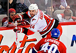 31 March 2010: Carolina Hurricanes' defenseman Jay Harrison in action against the Montreal Canadiens at the Bell Centre in Montreal, Quebec, Canada. The Hurricanes defeated the Canadiens 2-1. Mandatory Credit: Ed Wolfstein Photo