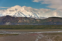 North and South summits of Denali with the Thorofare river in the foreground, Denali National Park, Interior, Alaska.