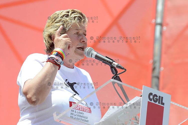 Roma, 17 Giugno 2017<br /> Susanna Camusso sul palco a San Giovanni.<br /> Manifestazione nazionale CGIL. Rispetto per il lavoro la democrazia e la Costituzione, contro i Voucher