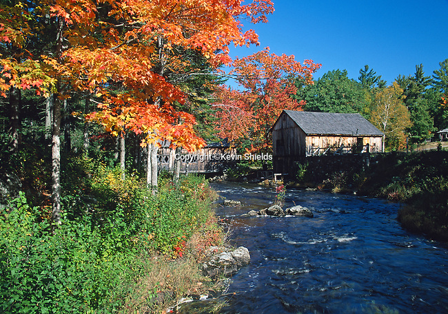Fall view of Leonard's Mills in Bradley, Maine, USA