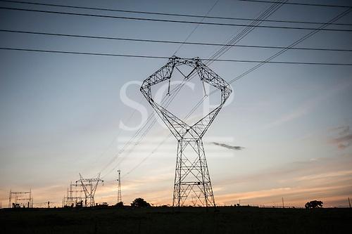 Altamira, Para State, Brazil. Electricity pylons.