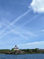 Pomham Rocks Lighthouse on a summer day.