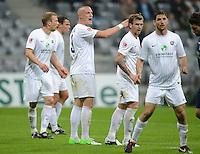 Fussball 2. Bundesliga:  Saison   2012/2013,    10. Spieltag  TSV 1860 Muenchen - FC Erzgebirge Aue  22.10.2012 Tobias Nickenig und Rene Klingbeil (v. li., FC Erzgebirge Aue)