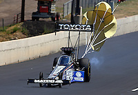 Jul. 20, 2013; Morrison, CO, USA: NHRA top fuel dragster driver Antron Brown during qualifying for the Mile High Nationals at Bandimere Speedway. Mandatory Credit: Mark J. Rebilas-