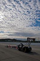 Nov. 11, 2011; Pomona, CA, USA; NHRA top fuel dragster driver David Grubnic during qualifying at the Auto Club Finals at Auto Club Raceway at Pomona. Mandatory Credit: Mark J. Rebilas-.