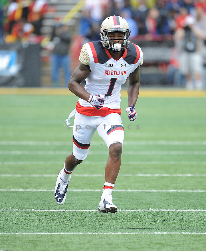 Maryland Terrapins Stefon Diggs (1) during a game against the West Virginia Mountaineers on September 13, 2014 at Byrd Stadium in College Park, MD. West Virginia beat Maryland 40-37.