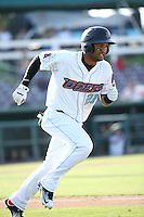 Roberto Baldoquin (21) of the Inland Empire 66ers runs to first base during a game against the Visalia Rawhide at San Manuel Stadium on June 26, 2016 in San Bernardino, California. Inland Empire defeated Visalia, 5-1. (Larry Goren/Four Seam Images)