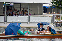 """Henley on Thames, United Kingdom, 3rd July 2018, Wednesday,  """"Henley Royal Regatta"""",  Picnickers', in a Punt, moored on the Booms' Henley Reach, River Thames, Thames Valley, England, UK."""