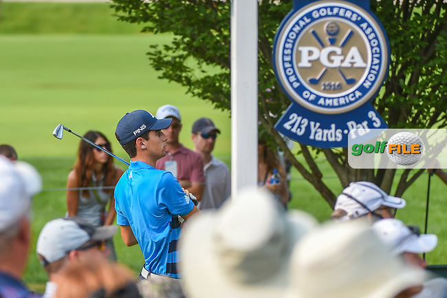 Joaquin Niemann (CHL) watches his tee shot on 6 during 4th round of the 100th PGA Championship at Bellerive Country Club, St. Louis, Missouri. 8/12/2018.<br /> Picture: Golffile   Ken Murray<br /> <br /> All photo usage must carry mandatory copyright credit (© Golffile   Ken Murray)
