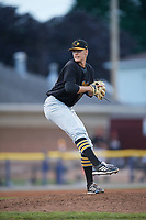 West Virginia Black Bears relief pitcher Blake Weiman (34) delivers a pitch during a game against the Batavia Muckdogs on June 26, 2017 at Dwyer Stadium in Batavia, New York.  Batavia defeated West Virginia 1-0 in ten innings.  (Mike Janes/Four Seam Images)