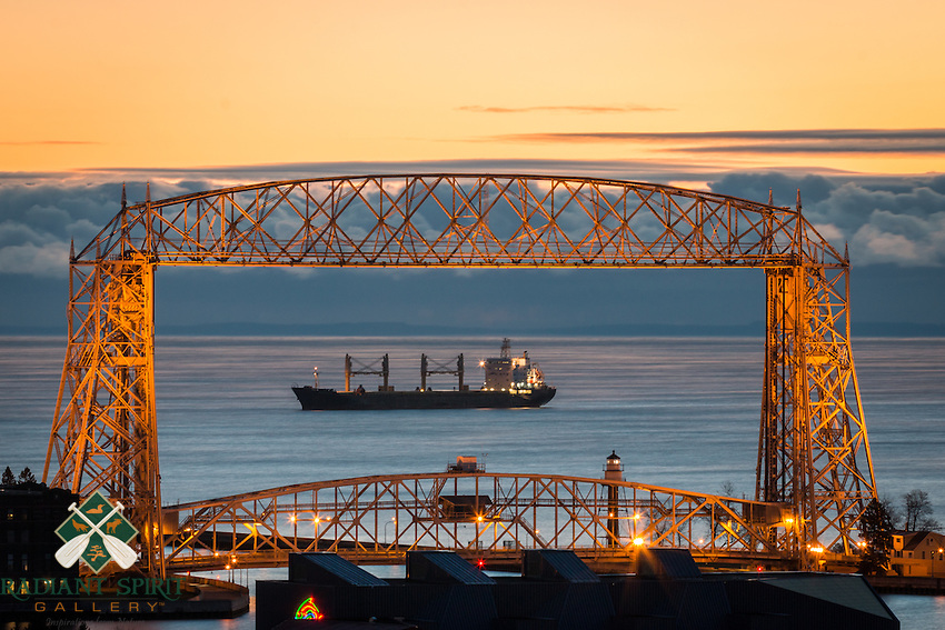 We did a little framing at sunrise this morning. The cargo ship Cornelia remains at anchor on Lake Superior. The fluffy, low-level clouds visible in the distance were formed by sea smoke -- it was about 10 degrees above this morning and the lake temp is much warmer, so we're starting to see the lake's breath.