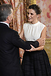 Queen Letizia of Spain (R) receives Argentina's President Mauricio Macri (C) because of the United Nations conference for the Climate Summit 2019 (COP25) at the Royal Palace. December 2,2019. (ALTERPHOTOS/Pool/Carlos Alvarez)