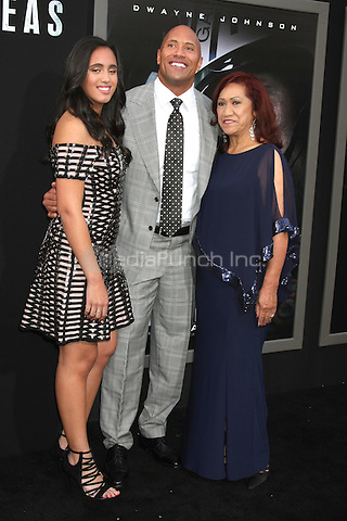 HOLLYWOOD, CA - MAY 26: Simone Alexandra Johnson, Dwayne Johnson, Ata Johnson at the San Andreas film premiere at The TCL Chinese Theatre in Hollywood, California on May 26, 2015. Credit: David Edwards/MediaPunch