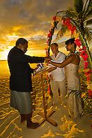Sunset wedding ceremony, Tokokiki Island Resort, Fiji Islands