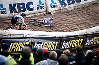 Yara Kastelijn (NED/777) crash  in the infamous 'Pit'<br /> <br /> CX Superprestige Zonhoven (BEL) 2019<br /> women's race