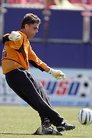 The Earthquake's goalkeeper Pat Onstad clears a ball during first half action between the San Jose Eaethquakes and  the NY/NJ MetroStars at Giant's Stadium, East Rutherford, NJ, on July 10, 2004. The MetroStars defeated the Earthquakes by a score of 2-0.