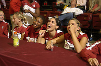 24 September 2005: Cynthia Barboza, Foluke Akinradewo and Bryn Kehoe during Stanford's 30-22, 31-29, 30-26 win against UCLA Bruins at Maples Pavilion in Stanford, CA.