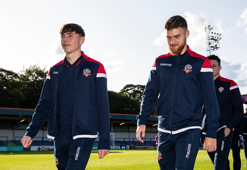 Bolton Wanderers' Callum King-Harmes and Sonny Graham inspecting the pitch before the match<br /> <br /> Photographer Andrew Kearns/CameraSport<br /> <br /> The Carabao Cup First Round - Rochdale v Bolton Wanderers - Tuesday 13th August 2019 - Spotland Stadium - Rochdale<br />  <br /> World Copyright © 2019 CameraSport. All rights reserved. 43 Linden Ave. Countesthorpe. Leicester. England. LE8 5PG - Tel: +44 (0) 116 277 4147 - admin@camerasport.com - www.camerasport.com