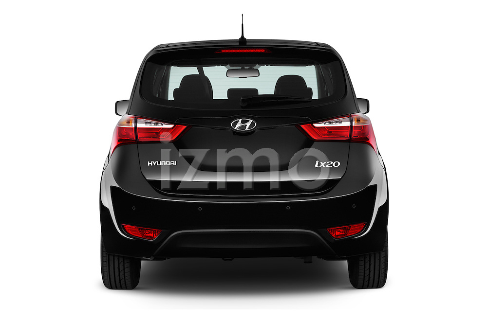 Straight rear view of 2016 Hyundai ix20 Joy 5 Door Mini MPV Rear View  stock images