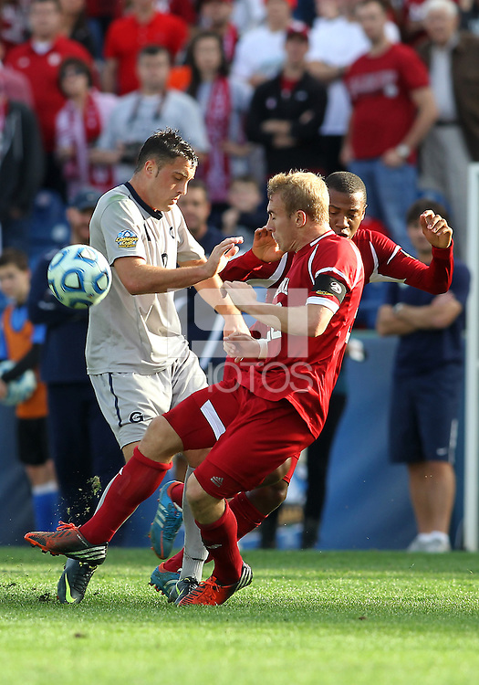 HOOVER, AL - DECEMBER 09, 2012: Caleb Konstanski (22) of Indiana University clashes with Brandon Allen (10) of Georgetown University during the NCAA 2012 Men's College Cup championship, at Regions Park, in Hoover , AL, on Sunday, December 09, 2012.
