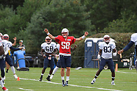August 1, 2018: New England Patriots quarterback Danny Etling (58) warms up with the team at the New England Patriots training camp held on the practice fields at Gillette Stadium, in Foxborough, Massachusetts. Eric Canha/CSM