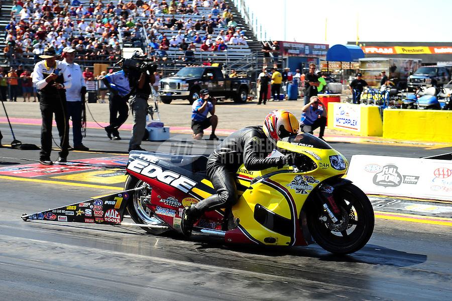Sept. 25, 2011; Ennis, TX, USA: NHRA pro stock motorcycle rider Michael Phillips during the Fall Nationals at the Texas Motorplex. Mandatory Credit: Mark J. Rebilas-