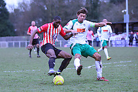 Kieran Bishop of Hornchurch with the ball  - AFC Hornchurch vs Bognor Regis Town - Ryman League Premier Division Football at The Stadium, Bridge Avenue, Upminster - 07/02/15 - MANDATORY CREDIT: Mark Hodsman/TGSPHOTO - Self billing applies where appropriate - contact@tgsphoto.co.uk - NO UNPAID USE