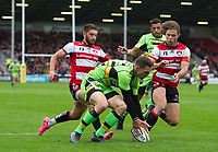 Northampton Saints' George North knocks on with the try line at his mercy <br /> <br /> Photographer Ashley Western/CameraSport<br /> <br /> Aviva Premiership - Gloucester v Northampton Saints - Saturday 7th October 2017 - Kingsholm Stadium - Gloucester<br /> <br /> World Copyright &copy; 2017 CameraSport. All rights reserved. 43 Linden Ave. Countesthorpe. Leicester. England. LE8 5PG - Tel: +44 (0) 116 277 4147 - admin@camerasport.com - www.camerasport.com