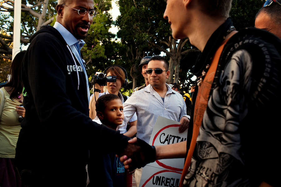 Los Angeles, California, October 23, 2011 - Activist Van Jones meets with protesters of Occupy LA from the steps of City Hall in Los Angeles. As Co-Founder and President of Rebuild the Dream, Jones is working on grassroots efforts to mobilize the left and hoping to find traction in the Occupy Wall Street Movement. Occupy LA is part of the larger Occupy Wall Street Movement which began this summer in Zuccotti Park in the Wall Street Financial District. Their protest is focused on social and economic inequality, corporate greed and its influence on government. Their slogan &quot;We are the 99%&quot; refers to the divide wealth distribution, where 1% of Americans control over 40% of the wealth in the country. <br /> <br /> Van Jones served as the green jobs advisor in the Obama White House in 2009 until resigning amid controversy over comments he made while an activist. He also holds a joint appointment at Princeton University as a distinguished visiting fellow in both the Center for African American Studies and in the Program in Science, Technology and Environmental Policy at the Woodrow Wilson School of Public and International Affairs.
