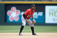 Indianapolis Indians shortstop Pablo Reyes (12) on defense against the Charlotte Knights at BB&T BallPark on August 22, 2018 in Charlotte, North Carolina.  The Indians defeated the Knights 6-4 in 11 innings.  (Brian Westerholt/Four Seam Images)