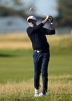 Alessandro Del Piero hits an approach during Round 1 of the 2015 Alfred Dunhill Links Championship at the Old Course, St Andrews, in Fife, Scotland on 1/10/15.<br /> Picture: Richard Martin-Roberts | Golffile