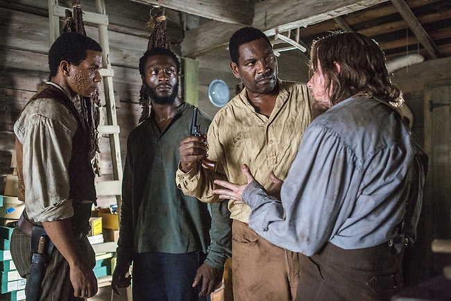 "Alano Miller as Cato, Aldis Hodge as Noah, Mykelti Williamson as Moses and Joseph Sikora as Frog Jack in WGN America's ""Underground."""