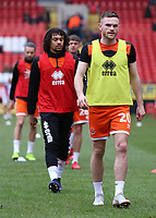 Blackpool's Oliver Turton during the pre-match warm-up <br /> <br /> Photographer David Shipman/CameraSport<br /> <br /> The EFL Sky Bet League One - Charlton Athletic v Blackpool - Saturday 16th February 2019 - The Valley - London<br /> <br /> World Copyright © 2019 CameraSport. All rights reserved. 43 Linden Ave. Countesthorpe. Leicester. England. LE8 5PG - Tel: +44 (0) 116 277 4147 - admin@camerasport.com - www.camerasport.com