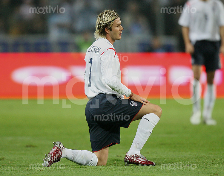 Fussball International Testspiel England 3-2 Argentinien David Beckham (ENG) am Boden