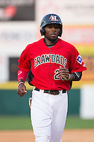 Travis Demeritte (25) of the Hickory Crawdads during the game against the Greensboro Grasshoppers at L.P. Frans Stadium on May 6, 2015 in Hickory, North Carolina.  The Crawdads defeated the Grasshoppers 1-0.  (Brian Westerholt/Four Seam Images)
