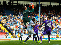 Stoke City's Jack Butland claims a cross above Blackburn Rovers' Amari'i Bell<br /> <br /> Photographer Alex Dodd/CameraSport<br /> <br /> The EFL Sky Bet Championship - Blackburn Rovers v Stoke City - Saturday 6th April 2019 - Ewood Park - Blackburn<br /> <br /> World Copyright © 2019 CameraSport. All rights reserved. 43 Linden Ave. Countesthorpe. Leicester. England. LE8 5PG - Tel: +44 (0) 116 277 4147 - admin@camerasport.com - www.camerasport.com