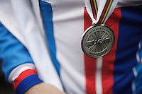 Adam Toupalic's (CZE) silver medal<br /> <br /> U23 men's race<br /> <br /> UCI 2016 cyclocross World Championships / Zolder, Belgium