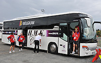 20140715 - Strømmen , NORWAY : Belgian Team pictured arriving with the bus before the female soccer match between Women under 19 teams of  Belgium and Scotland , on the first matchday in group A of the UEFA Women Under19 European Championship at Strommen Stadion , Norway . Tuesday 15th July 2014 . PHOTO DAVID CATRY