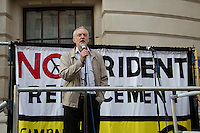 Jeremy Corbin MP (Labour Member of Parliament for Islington North).<br /> <br /> London, 13/04/2015. Today, The CND (Campaign for Nuclear Disarmament) held a demonstration outside the Ministry of Defence in Westminster. The aim of the protest was to oppose the Government plan to spend &pound;100bn for new Trident nuclear weapons.<br /> <br /> &quot;Stickers, Posters, Banners, Russell Brand, Occupy Statues, Class War&hellip; An Invisible Electoral Campaign&quot;.<br /> <br /> For more pictures and info about this event please click here: http://bit.ly/1H71ECg