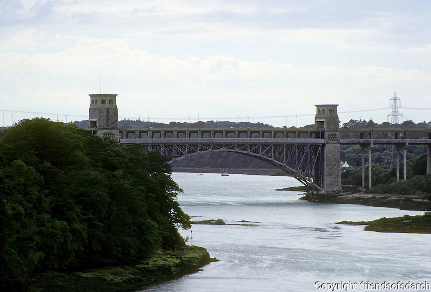 Technology: Robert Stephenson Britannia Railway Bridge, Menai Straits, Wales,1845-1850. 1500 ft. long continuous box beams. Central spans of 460 ft. Supporting arch trusses, 1970-71. Photo '90.