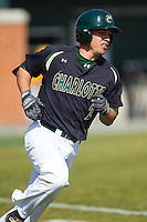 Brad Elwood (2) of the Charlotte 49ers hustles down the first base line against the Canisius Golden Griffins at Hayes Stadium on February 23, 2014 in Charlotte, North Carolina.  The Golden Griffins defeated the 49ers 10-1.  (Brian Westerholt/Four Seam Images)