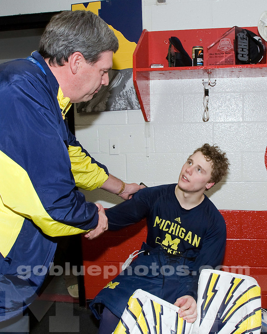 3/20/2010 Michigan defeats Northern Michigan 2-1 to win the CCHA Championship at Joe Louis Arena.