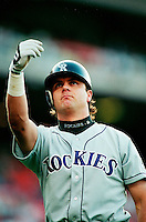 Larry Walker of the Colorado Rockies during a game at Dodger Stadium in Los Angeles, California during the 1997 season.(Larry Goren/Four Seam Images)