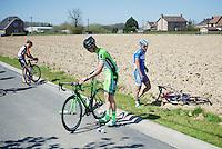 Bjorn Leukemans (BEL/Wanty-Groupe Gobert) just crashed<br /> <br /> 55th Brabantse Pijl 2015
