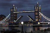 Tower Bridge, 1886-94, by architect Sir Horace Jones, 1819-87, and engineer Sir John Wolfe Barry, 1836-1918, River Thames, London, UK. This bascule bridge, seen up on the picture, has become a symbol of London. Picture by Manuel Cohen