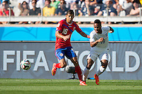 Cristian Gamboa of Costa Rica and Raheem Sterling of England