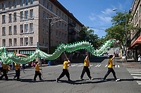 Green Dragon Dance, Dragon Fest 2015, Chinatown, Seattle, Washington, USA.